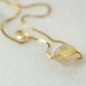 gold rutilated kvartz halskæde