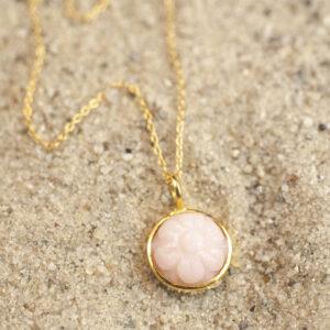 Pink opal halskæde