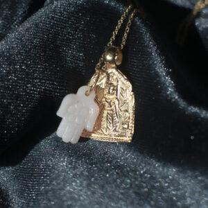 pink opal og amulet